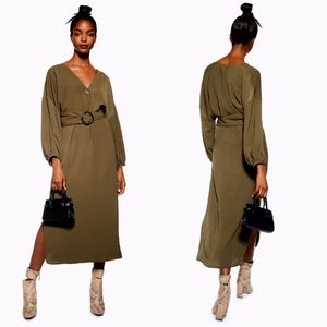NEW TOPSHOP Olive GREEN Horn Buckle Midi DRESS US6